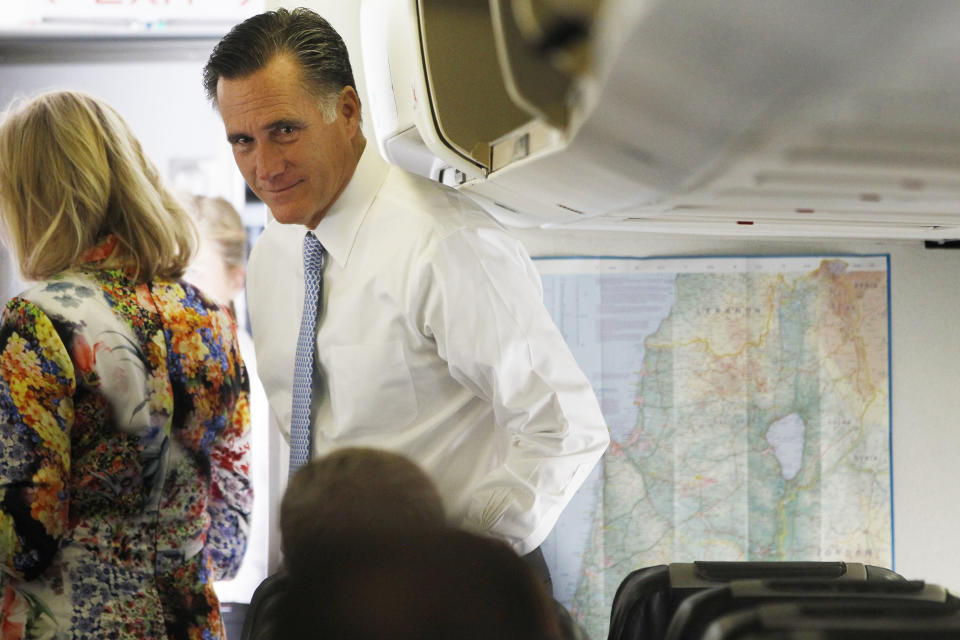 Republican presidential candidate and former Massachusetts Gov. Mitt Romney is seen on board his charter plane in Tel Aviv, Israel as he travels to Poland, Monday, July 30, 2012. (AP Photo/Charles Dharapak)