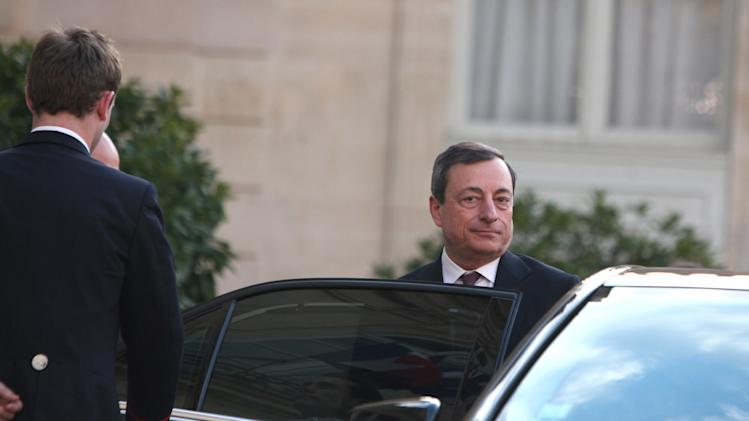 President of the European Central Bank, Mario Draghi, leaves the Elysee Palace, after a meeting, in Paris, Monday, May 27, 2013. (AP Photo/Thibault Camus)