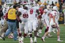 Indiana's Tegray Scales (8) runs on the field after his team upset Missouri, 31-27, in an NCAA college football game Saturday, Sept. 20, 2014, in Columbia, Mo. (AP Photo/L.G. Patterson)