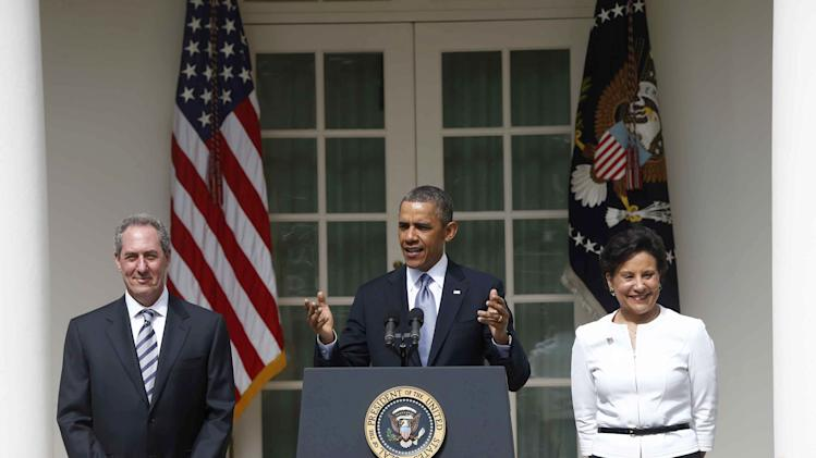 President Barack Obama speaks in the Rose Garden of the White House in Washington, Thursday, May 2, 2013, where he announced he will nominate Penny Pritzker, right, as Commerce Secretary and Michael Froman as U.S. Trade Representative, in Washington. (AP Photo/Charles Dharapak)