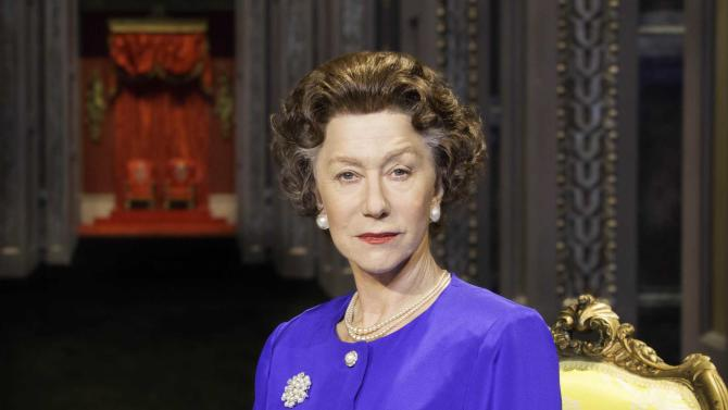 """This undated image released by Boneau/Bryan-Brown shows Helen Mirren as Queen Elizabeth II in a promotional photo for Peter Morgan's play """"The Audience."""" National Theatre Live will broadcast to movie theaters a live performance of the West End world premiere on June 13.  (AP Photo/Boneau/Bryan-Brown, Johan Persson)"""