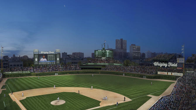 This artist rendering provided May 1, 2013 by the Chicago Cubs shows renovations planned at Wrigley Field. Part of the $500 million renovation plan for the 99-year-old stadium is to erect a 6,000-square-foot video screen over left field.. (AP Photo/Courtesy the Chicago Cubs)