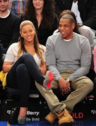 Beyonce and Jay-Z are spotted at the New Jersey Nets v New York Knicks game at Madison Square Garden in New York City on February 20, 2012  -- Getty Premium
