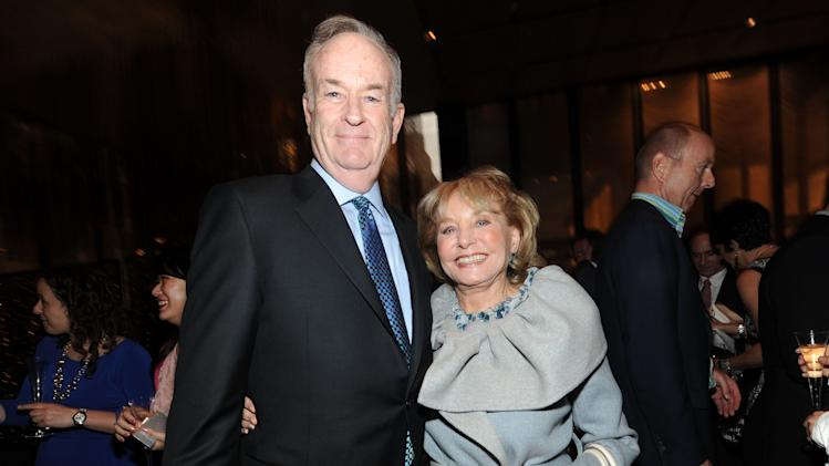 From left, Bill O'Reilly and Barbara Walters attend The Hollywood Reporter Celebrates the 35 Most Powerful People in Media, on April 10th, 2013, in New York. (Photo by Evan Agostini/Invision for The Hollywood Reporter/AP Images)