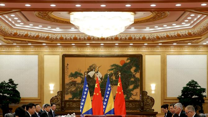 Dragan Covic, Chairman of Bosnia and Herzegovina's tripartite Presidency, meets with Chinese President Xi Jinping at the Great Hall Of The People in Beijing, China
