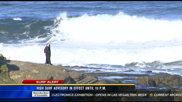 High surf advisory in effect until 10 p.m. Monday