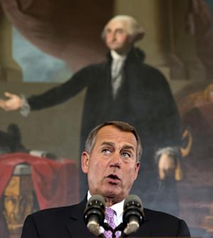 """Speaker of the House John Boehner, R-Ohio, talks about the elections and the unfinished business of Congress, at the Capitol in Washington, Wednesday, Nov. 7, 2012. The first post-election test of wills could start next week when Congress returns from its election recess to deal with unfinished business — including a looming """"fiscal cliff"""" of $400 billion in higher taxes and $100 billion in automatic cuts in military and domestic spending to take effect in January if Congress doesn't head them off. Economists warn that the combination could plunge the nation back into a recession.  (AP Photo/J. Scott Applewhite)"""