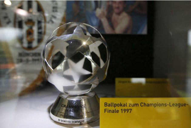 A trophy of the Champions League Final 1997 is seen at the 'Borusseum' museum of the Signal Iduna Park in Dortmund