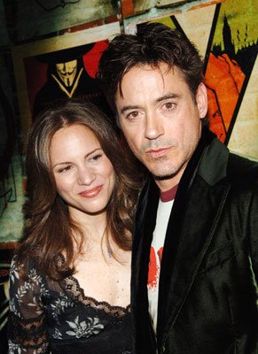 Susan Levin and Robert Downey Jr. at the New York premiere of Warner Bros. Pictures' V for Vendetta