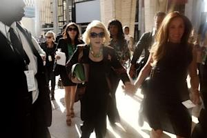 TV personality Joan Rivers and daughter Melissa Rivers leave following a Spring/Summer 2013 collection show at New York Fashion Week