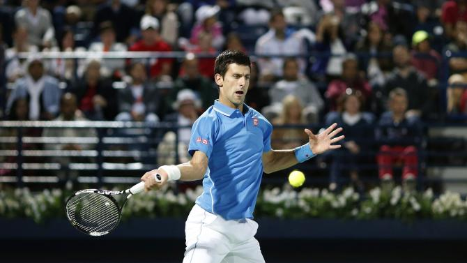Novak Djokovic of Serbia returns the ball to Tomas Berdych of Czech Republic during their semi-final match at the ATP Championships tennis tournament in Dubai