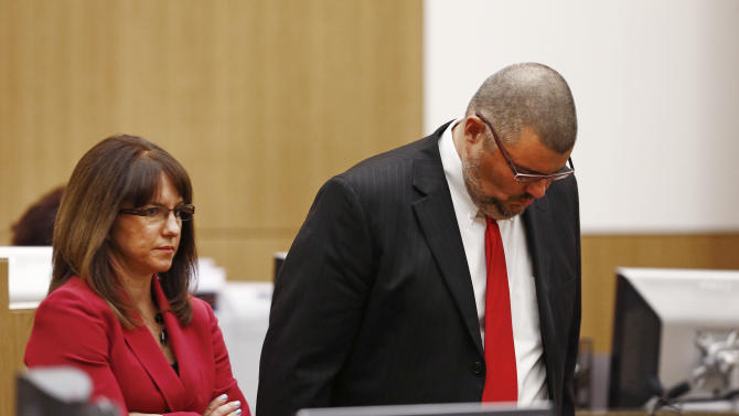 Jodi Arias' defense attorneys Jennifer Wilmott and Kirk Nurmi react after Judge Sherry Stephens denies their request to withdraw from the case on Monday, May 20, 2013 during the penalty phase of Jodi Arias' murder trial at Maricopa County Superior Court in Phoenix, Ariz.  Jodi Arias was convicted of first-degree murder in the stabbing and shooting to death of Travis Alexander, 30, in his suburban Phoenix home in June 2008. (The Arizona Republic, Rob Schumacher, Pool)