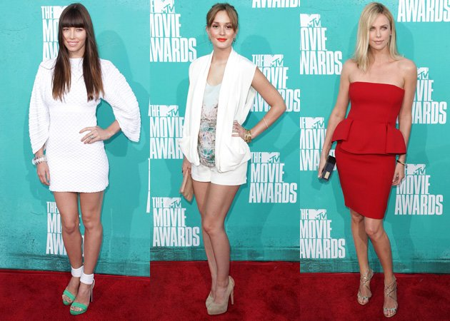 Jessica Biel, Leighton Meester, Charlize Theron, MTV Movie Awards 2012 red carpet