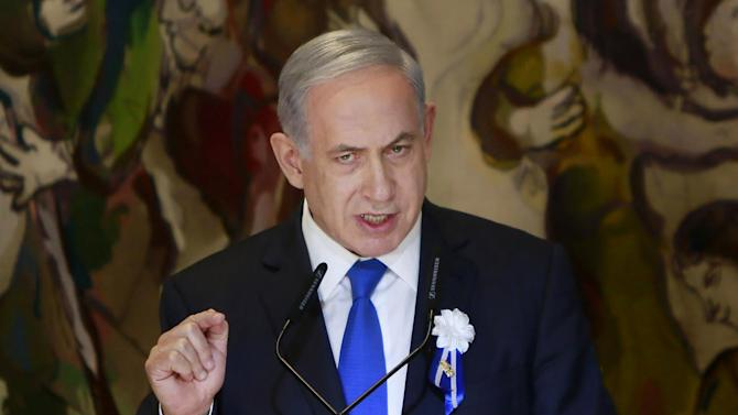 Israel's Prime Minister Benjamin Netanyahu delivers a speech during an event following the first session of the newly-elected Knesset in Jerusalem, Tuesday, March 31, 2015. (AP Photo/Gali Tibbon, Pool)