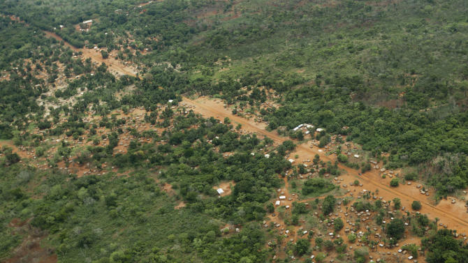 FILE - In this Sunday, April 29, 2012 file photo, the town of Obo, where U.S. special forces have paired up with local troops and Ugandan soldiers to seek out Joseph Kony's Lord's Resistance Army (LRA), is seen from the air in the Central African Republic. Roughly one year after 100 U.S. special forces troops arrived in four Central Africa nations to advise African soldiers in their pursuit, Kony is still on the run and his exact whereabouts unknown. (AP Photo/Ben Curtis, File)