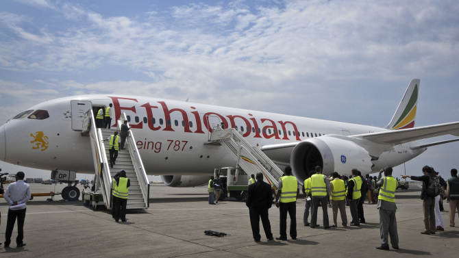 An Ethiopian Airlines' Boeing 787 Dreamliner prepares to take off from Addis Ababa airport in Ethiopia, Saturday, April 27, 2013. A Boeing 787 operated by Ethiopian Airlines flew from Ethiopia to Kenya's capital Nairobi on Saturday, the first commercial flight since air safety authorities grounded the Dreamliners after incidents with smoldering batteries on two different planes in January. (AP Photo/Elias Asmare)