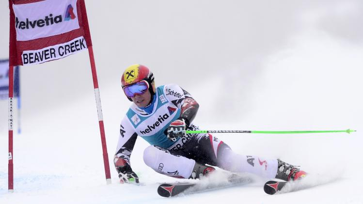 Hirscher of Austria skis in the first run of the men's World Cup Giant Slalom ski race in Beaver Creek