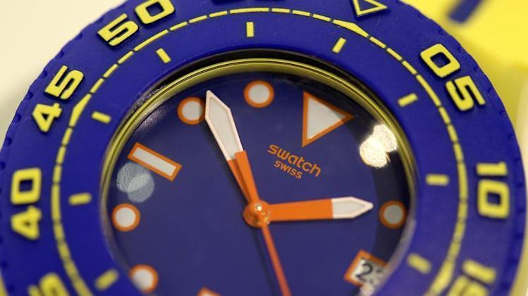 A Swatch Scuba Playero wrist watch is displayed in a shop in Zurich