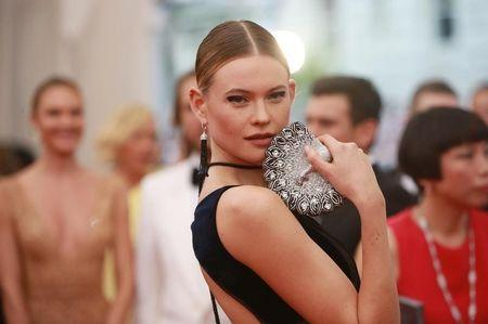 "Namibian model Behati Prinsloo arrives for the Metropolitan Museum of Art Costume Institute Gala 2015 celebrating the opening of ""China: Through the Looking Glass,"" in Manhattan"