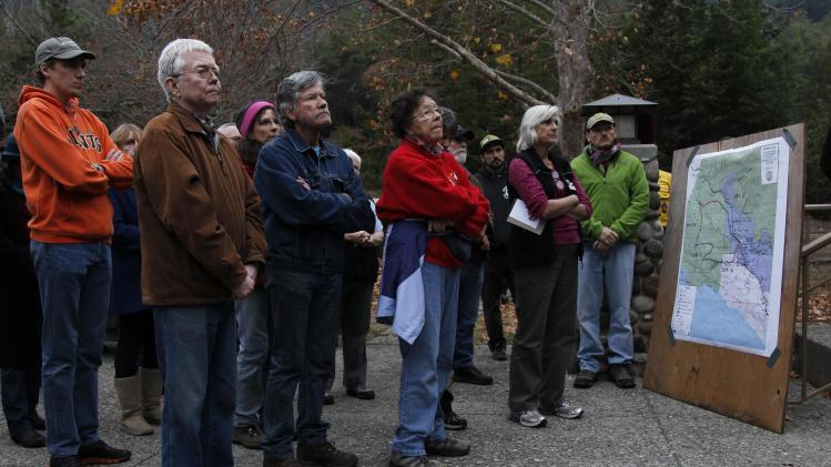 Residents attend a community meeting for updates on the area's wildfire in Big Sur