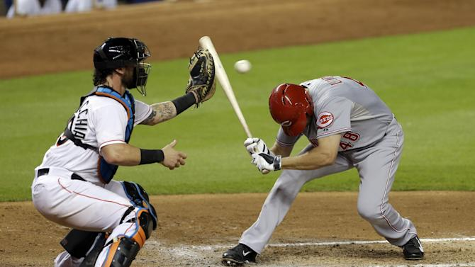Marlins beat Reds 2-1 on Yelich's hit in 10th