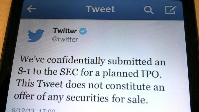 File photo shows a tweet from Twitter Inc. announcing its initial public offering