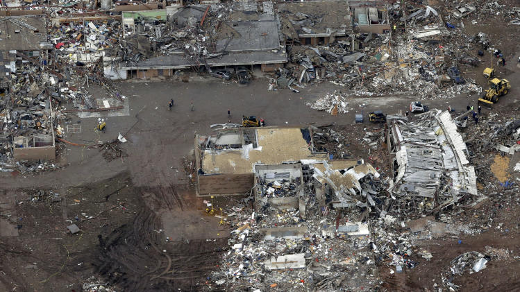 An aerial view of Briarwood Elementary that was damaged in Monday's tornado Tuesday, May 21, 2013, in Moore, Oklahoma. A huge tornado roared through the Oklahoma City suburb Monday, flattening an entire neighborhoods and destroying an elementary school with a direct blow as children and teachers huddled against winds. (AP Photo/Tony Gutierrez)