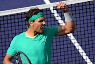 Rafael Nadal celebrates after winning a point against Juan Martin Del Potro at the Indian Wells in California on March 17, 2013. Nadal won 4-6, 6-3, 6-4 to win his third Indian Wells ATP Masters title and cement his return from a seven-month injury layoff