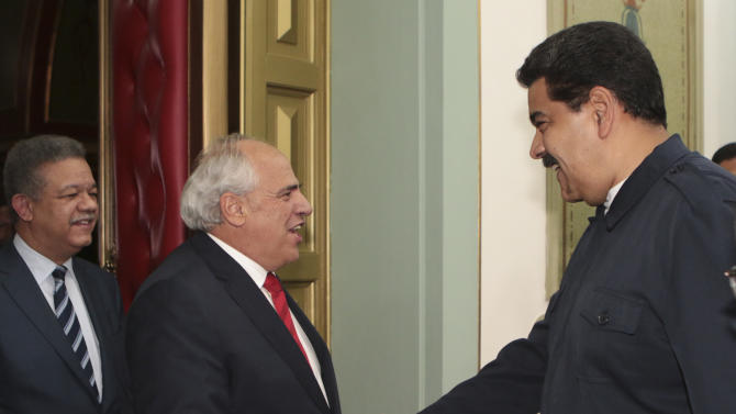 Venezuela's President Maduro welcomes Secretary General of the Union of South American Nations Samper in Caracas