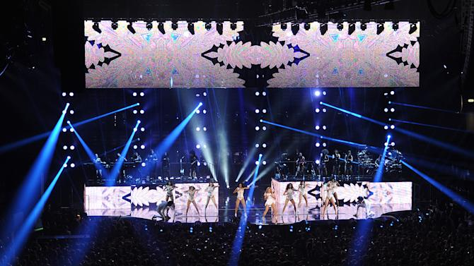 """Singer Beyonce performs on the """"Mrs. Carter Show World Tour 2013"""", on Friday, April 19, 2013 at the Slovnaft Arena in Bratislava, Slovakia. (Photo by Frank Micelotta/Invision for Parkwood Entertainment/AP Images."""