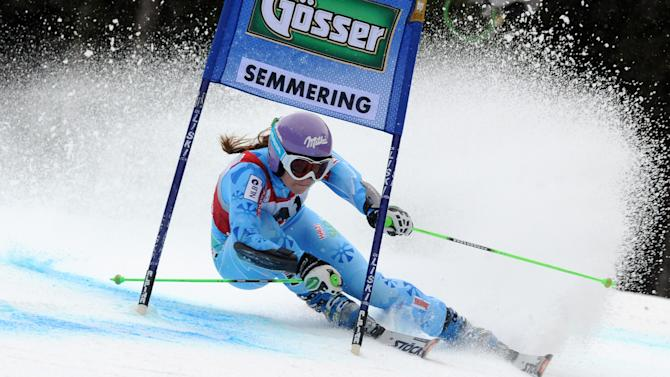Slovenia's Tina Maze competes during the first run of an alpine ski, women's World Cup giant slalom in Semmering, Austria, Friday, Dec. 28, 2012. (AP Photo/Pier Marco Tacca)