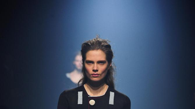 A model wears a creation by Sonia Rykiel during the presentation of her Fall/Winter 2013-2014 ready to wear collection in Paris, Friday, March 1, 2013. (AP Photo/Zacharie Scheurer)