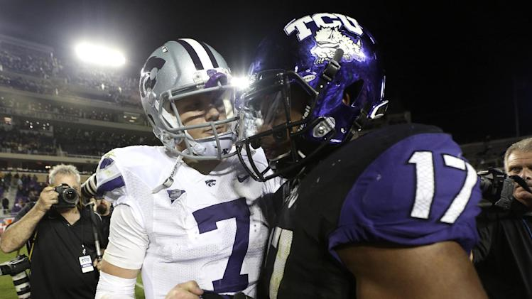Kansas State quarterback Collin Klein (7) greets TCU safety Sam Carter (17) after their NCAA college football game ,Saturday, Nov. 10, 2012, in Fort Worth, Texas. Kansas State won 23-10. (AP Photo/LM Otero)