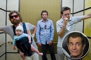 "Zach Galifianakis, Bradley Cooper and Ed Helms in ""The Hangover"" (Inset: Mel Gibson) -- Warner Bros. / Getty Images"