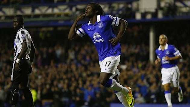 Everton's Romelu Lukaku celebrates his goal against Newcastle United (Reuters)