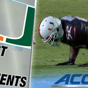 Miami LB Denzel Perryman Gets Flagged for Doing Pushups Then Intercepts Pass | ACC Must See Moments