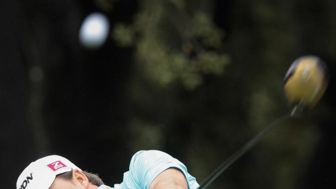 Graeme McDowell tees off on the sixth hole during the second round of the World Challenge golf tournament at Sherwood Country Club in Thousand Oaks, Calif., Friday, Nov. 30, 2012. (AP Photo/Bret Hartman)
