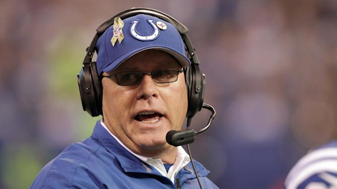 FILE - In this Nov. 25, 2012, file photo, Indianapolis Colts interim head coach Bruce Arians questions a call during the first half of an NFL football game against the Buffalo Bills in Indianapolis. Arians has become the first interim coach to win the top NFL award from The Associated Press, taking the 2012 Coach of the Year honors for his work with the Colts. (AP Photo/AJ Mast, File)
