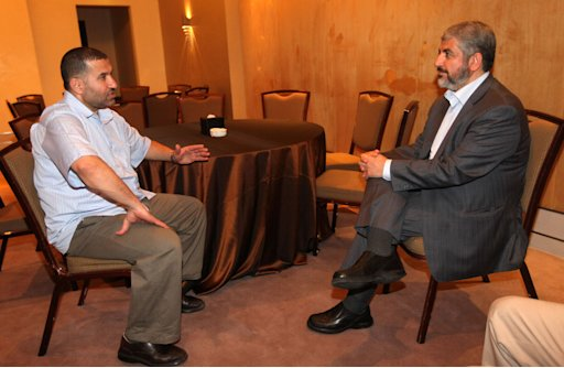 Hamas leader Meshaal meets with Al-Jabari, top commander of Al-Qassam brigades, after a prisoner swap deal between Hamas and Israel, in Cairo