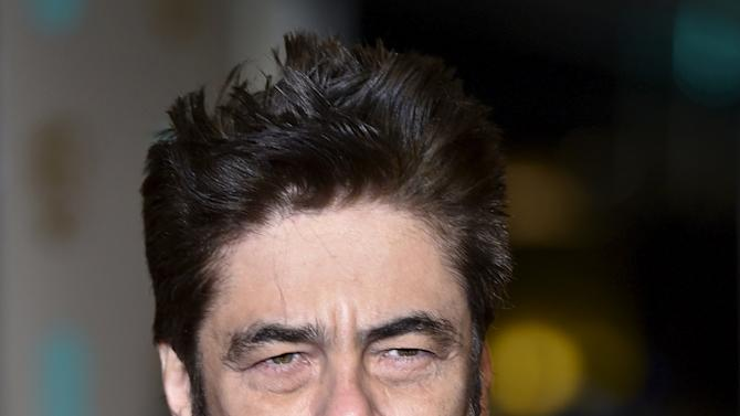 Benicio del Toro arrives at the British Academy of Film and Television Arts (BAFTA) Awards in London