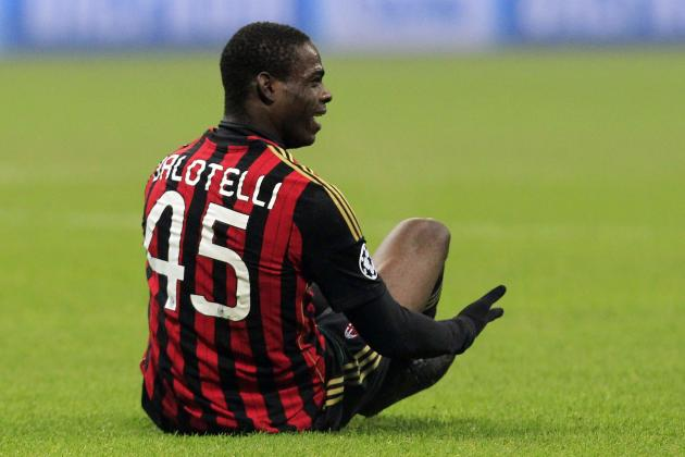 AC Milan's Balotelli reacts during their Champions League soccer match against Ajax Amsterdam in Milan