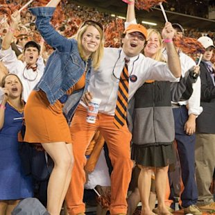 Auburn University fans cheer on the Tigers.