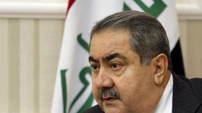 Iraq's Finance Minister Hoshiyar Zebari speaks during an interview with Reuters in Baghdad