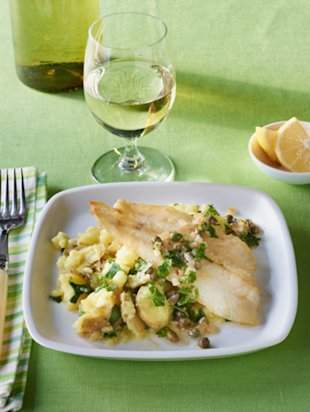 Sauteed Lemon Sole On Smashed Spring Taters