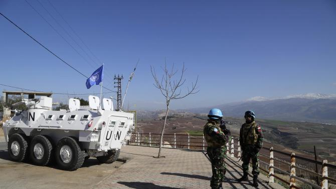 U.N. peacekeepers of the United Nations Interim Force in Lebanon (UNIFIL) patrol the Lebanese-Israeli border in Adaisseh village, southern Lebanon