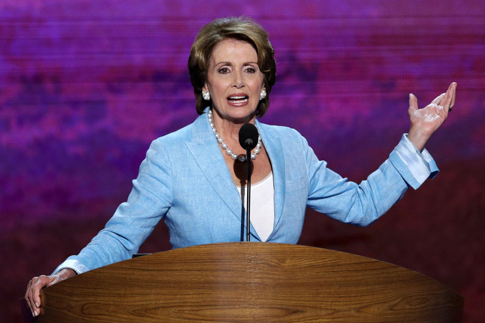 House Minority Leader Nancy Pelosi addresses the Democratic National Convention in Charlotte, N.C., on Wednesday, Sept. 5, 2012. (AP Photo/J. Scott Applewhite)