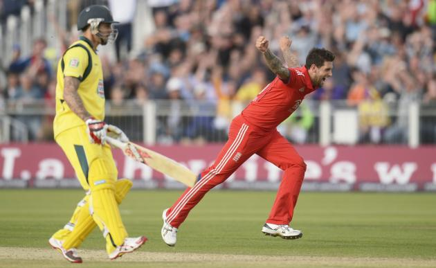 England's Dernbach celebrates during the second T20 international against Australia in Chester-le-Street