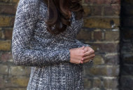 Britain's Kate the Duchess of Cambridge, who is pregnant and due to give birth in July, arrives at Hope House, in London, Tuesday, Feb. 19, 2013. As patron of Action on Addiction, the Duchess was visiting Hope House, a safe, secure place for women to recover from substance dependence. (AP Photo/Matt Dunham)
