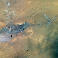 This photo released by EADS&#39; Astrium Press on January 18, 2013, shows a satellite view of the In Amenas gas field in the Sahara desert. Islamist gunmen were holed up with an unknown number of foreign hostages on Saturday at a gas plant in the Algerian desert, amid uncertainty over what the army was doing to free their captives