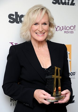 FILE - In this Oct. 24, 2011 file photo, actress Glenn Close poses backstage with the Hollywood career achievement award at the 15th Annual Hollywood Film Awards Gala in Beverly Hills, Calif. Close is one of many successful actresses over 40 working in Hollywood. (AP Photo/Kristian Dowling, file)